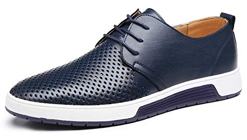 CAGAYA Herren Freizeit Schuhe aus Leder Business Anzugschuhe Atmungsaktiv Lederschuhe Oxford Halbschuhe Party Hochzeit übergrößen 38-46 (44, Blau-Mesh) Mesh-oxford