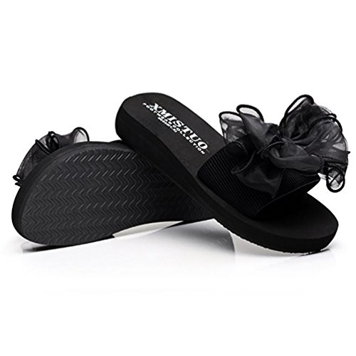 SHANGXIAN Plage solide Comfort Thong Sandal Black