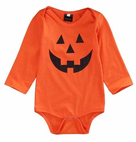 Kürbis Mädchen Kostüm für Halloween,ZEZKT Mädchen Romper Parteikleidung Overall Für Baby Pumpkin Infant Kostüm (0 -18 Monate) (3 Monat) (Kind Halloween Kostüme 0 3 Monate)