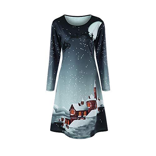 Kostüm Billig Santa - VEMOW Heißer Elegante Damen Abendkleid Vintage Weihnachten Santa Gedruckt Kostüm A-Line Lose Beiläufige Tägliche Party Schaukel Kleid(Y1-Grau, 38 DE/L CN)