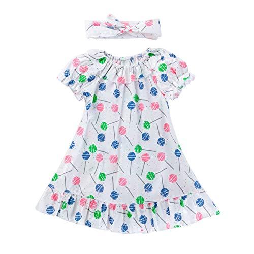 HaiQianXin Kinder Mädchen Cartoon Print Kurzarm Prinzessin Kleid mit Stirnband Outfit Anzug (Color : Lollipop, Size : 3Y)