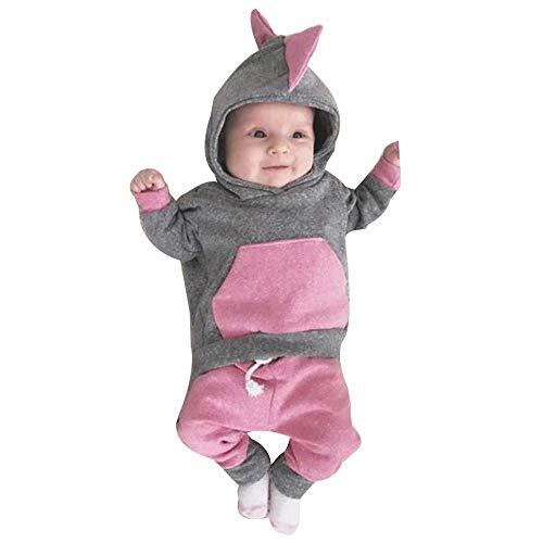 Baby Overalls,Transwen Neugeborenes Baby Mädchen 3D Dinosaurier Hoodie Tops T-Shirt Hosen Leggings Outfit Kleidung Lange Ärmel Body Spielanzug (70, Grau)