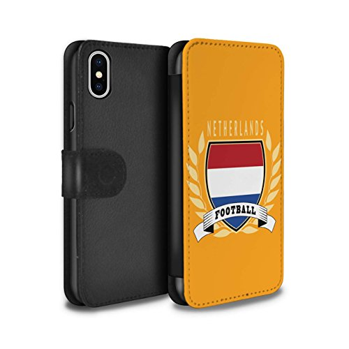 Stuff4 Coque/Etui/Housse Cuir PU Case/Cover pour Apple iPhone X/10 / Pays-Bas Design / Emblème Football Collection Pays-Bas