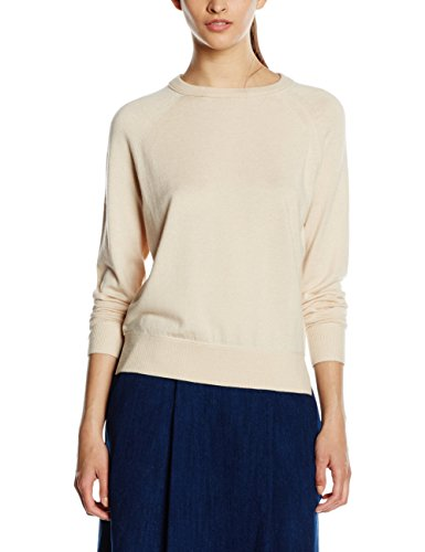 Marc O'Polo Damen Pullover 607625960257 Elfenbein (Wood Dust 133), X-Small (Knit Round Neck Pullover)