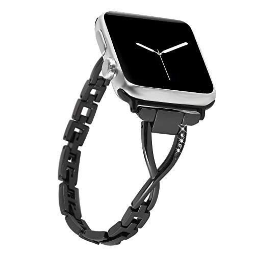 Nike Sport-uhren Frauen (NikoStore Bands für Apple Watch 38mm,Schwarz iWatch Series 4 40mm Damen Bling Edelstahl Armband,Uhrenarmband Wristband Zubehör für Series 4/3/2/1,Sport,Edition,Nike+)