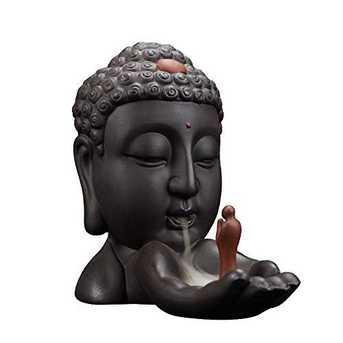 Buddha Backflow Räucherstäbchenhalter mit 10 Stück Rückfluss-Räucherkegel, Home Keramik Backflow Räucherkegel Halter Brenner