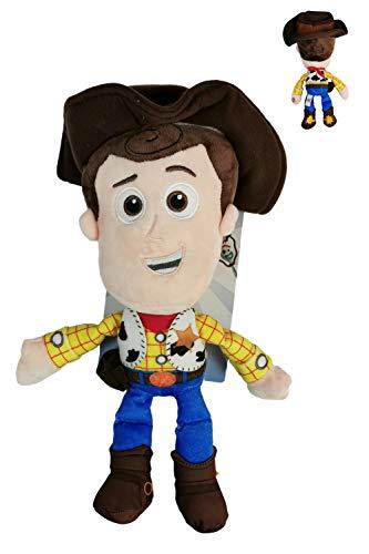 """Dsney Toy Story - Peluche Sheriff Woody, el Vaquero con Voz en Ingles al Pulsar su Mano 13""""/33cm Calidad Super Soft"""