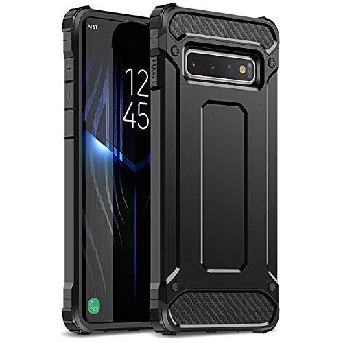 WE LOVE CASE Kompatibel mit Samsung Galaxy S10 Hülle Stoßfest Handyhülle Armor Serie PC+Silikon Dünn Doppelschichter Bumper Schutz Schutzhülle für Samsung Galaxy S10 Schwarz Silikon-schutz