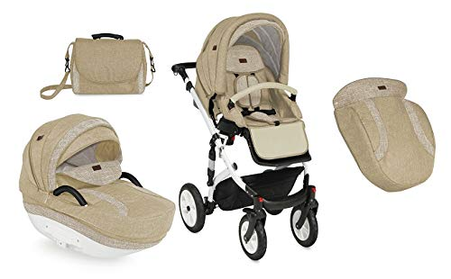 Lorelli Mia 3 in 1 Pneumatic tyre Pushchair, car seat, Baby Bath, Sports seat, Colour:Beige Lorelli matching easy to assemble car seat, baby bath, sports seat, mosquito protection, rain cover and diaper bag included in the scope of delivery Pneumatic tires (rubber tires) and suspension for easier driving easily foldable - adjustable and extendable sunroof with window and bag 8