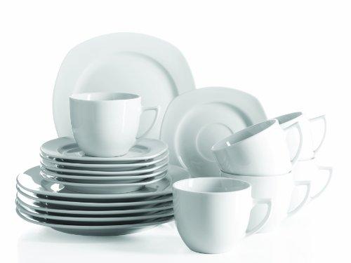 Mäser, Serie Villa Weiss, Kaffeeservice 18-teilig, Porzellan Geschirr-Set für 6 Personen