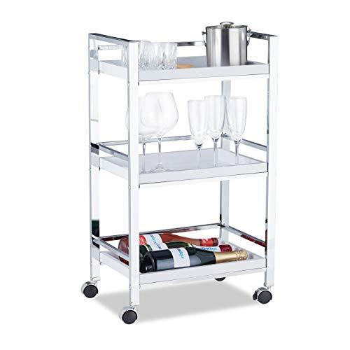 Relaxdays Servierwagen mit 3 abnehmbaren Tabletts, Teewagen, Allzweckwagen mit Rollen, HxBxT: 77,5 x 45 x 29 cm, weiß