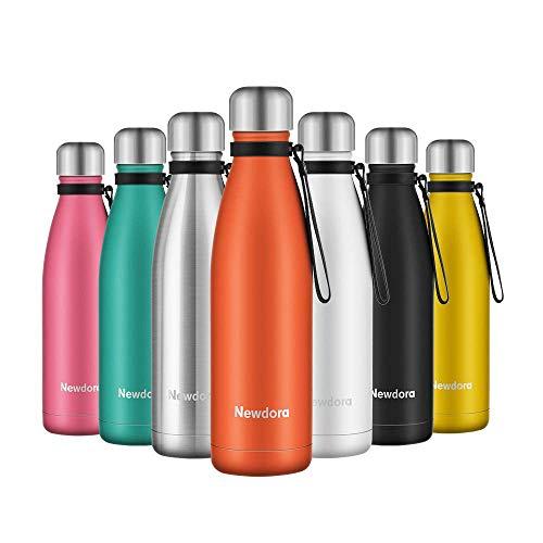 Newdora Vacuum Isolierte Wasserflasche & Vacuum Flask - 500 ml, 12 Stunden heiß / 24 Stunden kalt, doppelwandiger 18/8-Edelstahl für Kinder, Sport und Outdoor mit Reinigungsbürste(Orange)
