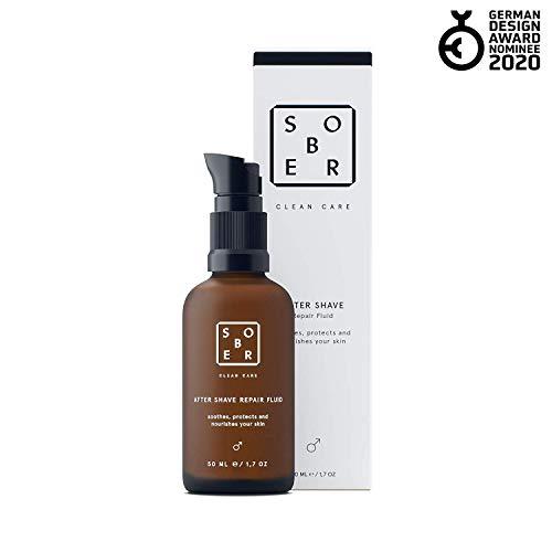 sober® | After Shave Repair Fluid | Kühlender und beruhigender Balsam | Anti Rasierpickel gegen eingewachsene Haare | ohne Alkohol | Entwickelt für Männer | 50ml Reisegröße