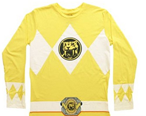 The Power Rangers Long Sleeve Ranger Costume Yellow T-shirt (Adult (Power Rangers Mighty Morphin Kostüm Yellow Ranger)