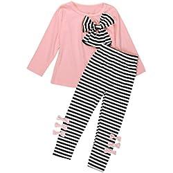 Bebe Invierno por 2-6 Años, Zolimx Niños Niñas Bebé Conjuntos de Manga Larga Bowknot Vestido Tops Camiseta + Raya Pantalones Largos Establece Ropa (Rosa, 6Años / 130CM)