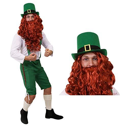 Irland Ringe Kostüm - ILOVEFANCYDRESS GLÜCKSBRINGER Kobold ST Patricks Day Leprechaun Irland KOSTÜM VERKLEIDUNG=GRÜNE 3/4 Latzhose+WEISSES Oberteil+ROTE PERÜCKE+BART+GRÜNER Zylinder MIT Schnalle=XLarge