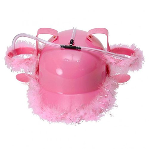 trendaffe Girly Trinkhelm mit Pinken Federn - Bierhelm Saufhelm Helm mit Getränkehalter