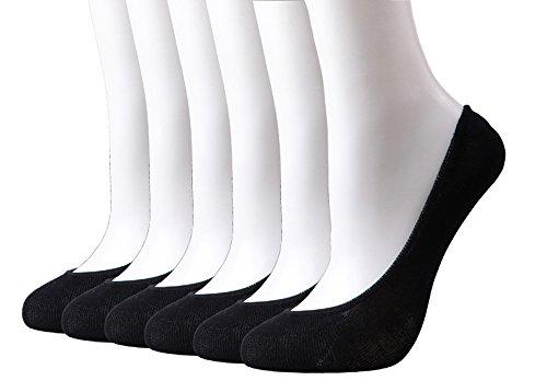 HeyUU Damen Unsichtbare Füßlinge (6 Paar) aus Bambusfaser mit Rutschfeste Silikon Schwarz/Beige in der Box, Schwarz, Gr: Large