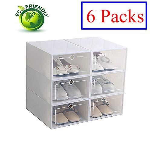 Hwalla Cajas de Zapatos de plástico Transparente Apilable, Tamaño de la Caja de Zapatos Contenedores de Almacenamiento con Tapas (Blanco, 6 Pack)