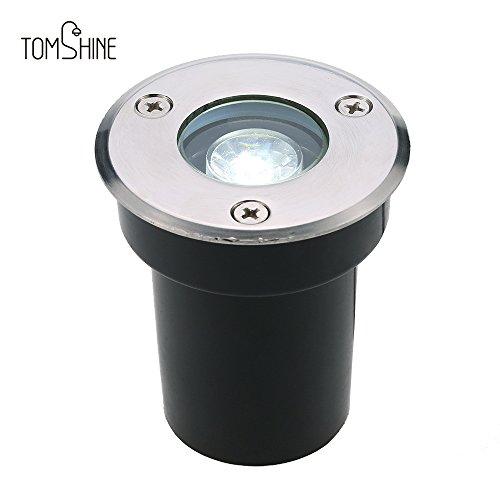 Tomshine 1W AC / DC 12V LED spot led encastrable Etanche IP67 Lampe souterraine 100LM Haute puissance en verre trempé Extérieur spot encastrable pour terrain jardin chemin étage escalier Yard