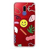 Miagon Klar Hülle für Samsung Galaxy A6 2018,Kreativ Silikon Case Ultra Schlank Transparente Weich Handyhülle Anti-Kratzer Stoßfest Schutzhülle,Lächeln