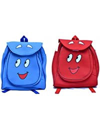 Pratham Enterprises Combo Of Blue Smile Bag And Red Smile Cute Teddy Soft Toy School Bag For Kids ( Pack Of 2)