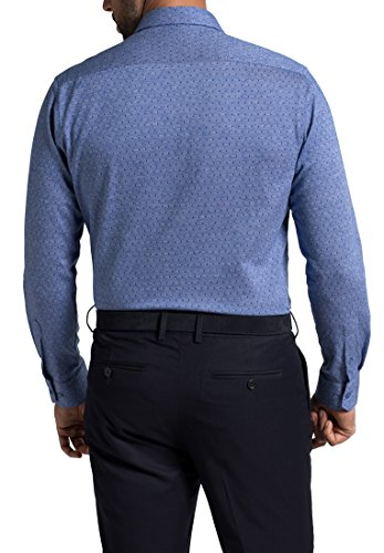 Eterna Long Sleeve Shirt Modern Fit Jersey Patterned Blu