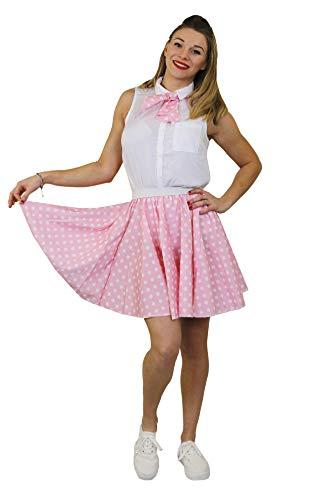 ILOVEFANCYDRESS Damen Polka DOT Rock n ROLL KOSTÜM VERKLEIDUNG=10 Farben+ 2 GRÖßEN=LÄNGE VON UNGEFÄHR-43 cm=Tanz Fasching Karneval VERANSTALLTUNGEN=HELL ROSA Weisse Punkten-Plus - Tanz Rock N Roll Kostüm