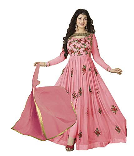 Sukhvilas Fashion Women's Georgette Semi-Stitched Salwar Suit (Pink_Free Size)