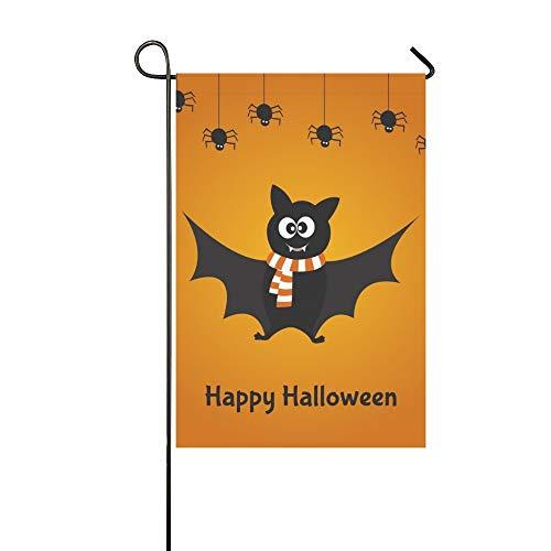 artoon Nette Fledermaus Spinnen Happy Halloween Garten Flaghouse Yard Flaggarden Yard Decorationsseasonal Willkommen Outdoor Flagge 12X18 Zoll ()