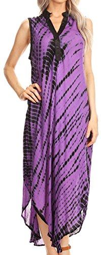 Sakkas 17713 - Olivia leichte ärmellose Krawatte Dye Kleid mit Mandarin Halsband - lila/schwarz - OS - Schwarze Krawatte Kleid