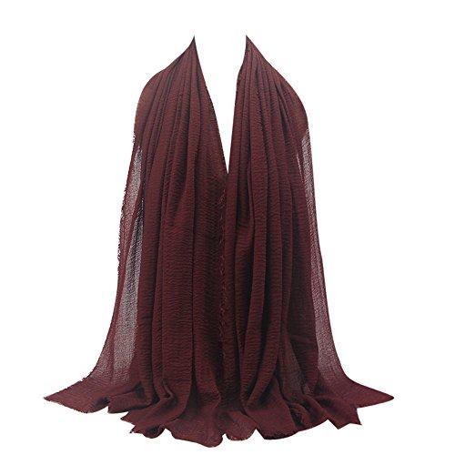 KPILP Premium Viskose Maxi Crinkle Cloud Hijab Schal Pashminas Soft Islam Muslim Kopftücher Umhang,Weinrot Rot 34# - Wollschal Taschen Mit