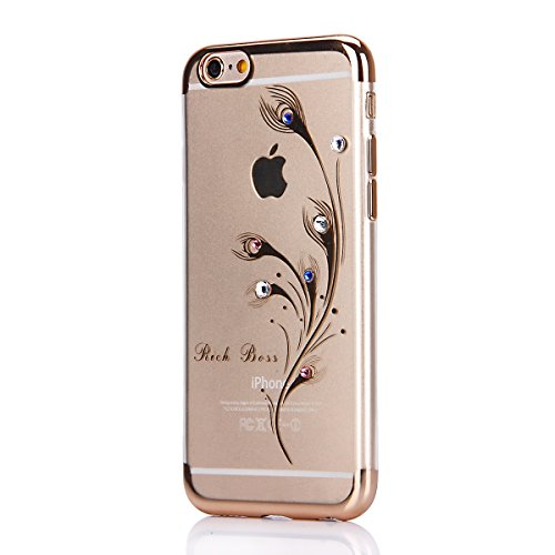 iPhone 6S Plus Strass Hülle,iPhone 6 Plus Handyhülle,JAWSEU Luxus Cool Kreative Shiny Sparkle Halskette Muster Rose Gold Plating Crystal Klar Silikon Bling Glitzer Shiny Bumper Case Schutzhülle Diaman Gold,Pfau Feder