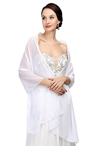 MicBridal® Chiffon Bolero Braut Jacke/Stola/Cape für Brautkleid Hochzeit in verschiedenen Farben (200*45cm, Weiß)