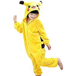 Inception Pro Infinite Costume - Pijama Entero - Pikachu - Pokémon - Niños - Disfraz - Carnaval - Halloween - Color Amarillo - Cosplay - Unisex - Idea Regalo Amarillo Large