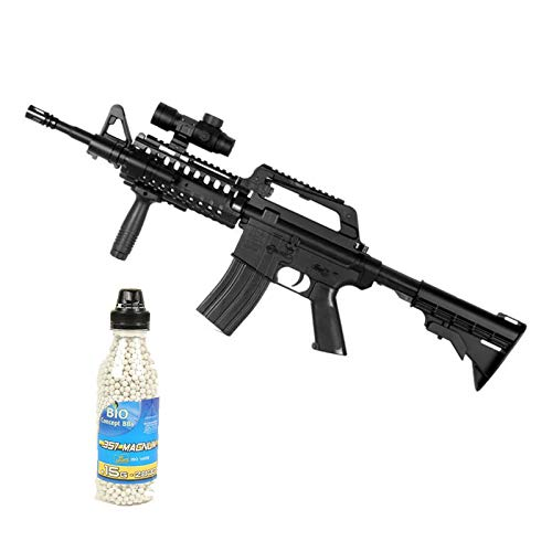Well Airsoft Pack M4 RIS Fucile d'assalto con Manico a Molla redot e tattico, 2000 Ball Bottle Offer (0,4 Joule) MR733