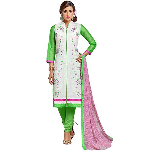 Sretan Women's Chanderi Cotton Salwar Kameez (White Green Color)