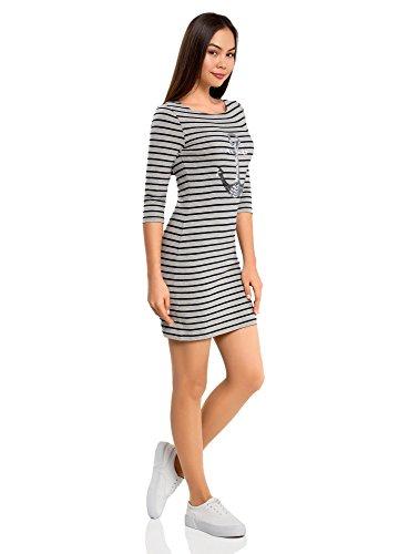 oodji Ultra Damen Jersey-Kleid mit Pailletten-Verzierung Grau (2392P)