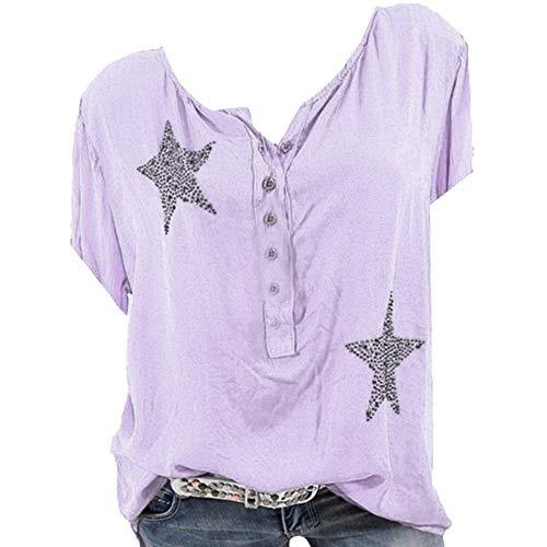 Frauen Sommer Sexy V-Ausschnitt Casual Large Size Tops Shirts, Mode Button Up Kurzarm Pentagram Print Bluse Tunika -