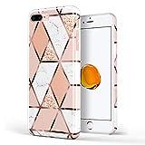 DOUJIAZ Coque en Silicone TPU Souple avec Paillettes Brillantes pour iPhone 7, iPhone 8, iPhone 6, 6S (Grille Or Rose) Rose Gold Grid
