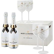 Moet & Chandon Ice Imperial Champagner in Holzkiste mit 4 Acryl-Gläsern (2 x 0.75 l)