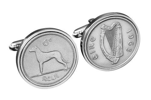 1942 irlandais Coin Boutons de manchette Boutons de manchette - Véritable pièce de six pence Irlande 1942