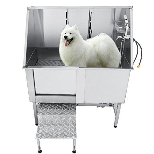 BanabaB Professionelle Edelstahl Hundebadewanne Große Hunde 120kg Belastbarkeit Katzen Haustiere Pflege Badewanne Bathtube Haustier Dusche mit Wasserhahn Walk-in Rampe und Zubehör