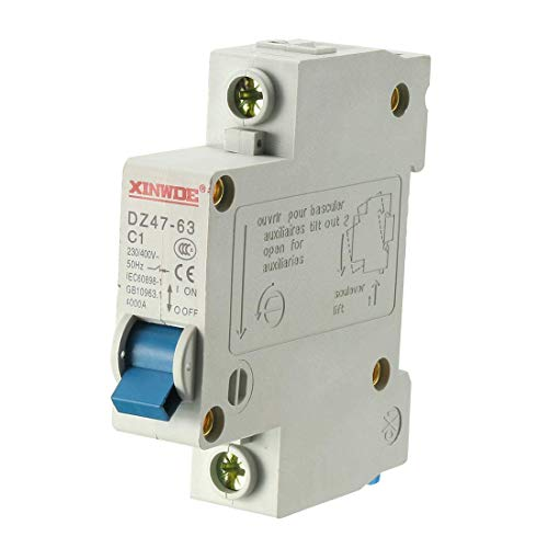 Din Mount Circuit Breaker (ZCHXD 1 Pole 1A 230/400V Low-voltage Miniature Circuit Breaker Din Rail Mount DZ47-63 C1)