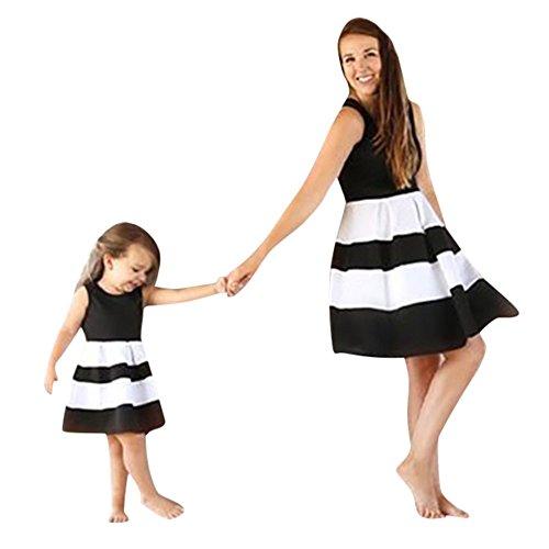 Storerine Böhmisches Schwarz gestreiftes Druckkleid Mutter-Kind tragen,Mama Kinder Baby Mädchen Gestreifter Print Prinzessin Tutu Kleid Lässige Familie Kleidung