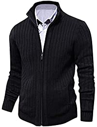 aoli ray Men s Knitted Cardigan Full Front Zipper Long Sleeve Sweater with  2 Side Pockets 3953a35e6