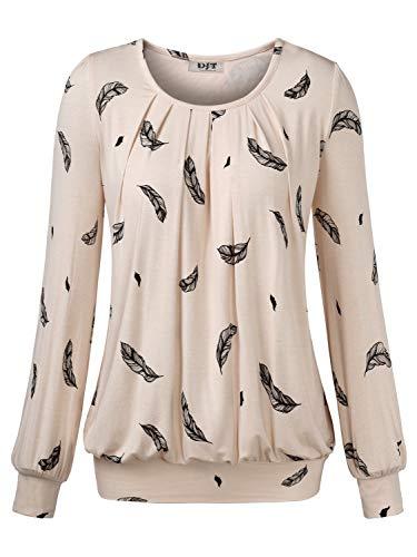 DJT Damen Langarmshirt Rundhals Falten T-Shirt Stretch Tunika Top Apricot-Federn Large