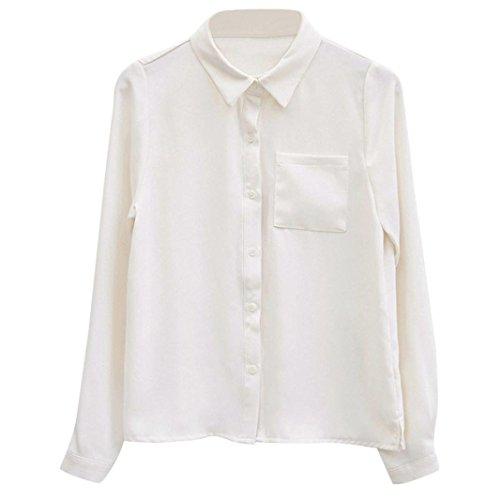 BHYDRY Frauen-Feste Lange Hülsen-Knopf-Lose Formale Büro-Arbeits-Hemd-Spitzen-Bluse(M,Weiß)