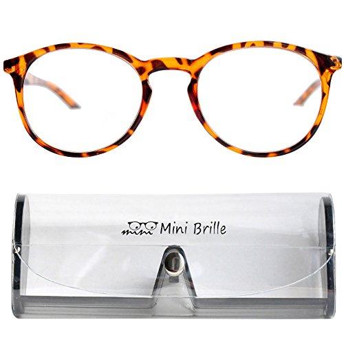 Klassische Nerd Lesebrille mit großen runden Gläsern - mit GRATIS Etui | Kunststoff Rahmen (Tortoise braun) | Lesehilfe für Damen und Herren von Mini Brille | +3.0 Dioptrien Großen Rahmen Gläser