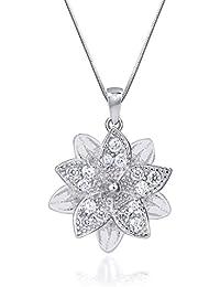 Shiyara Jewells Sterling Silver Goddess Laxmi Lotus Pendant With CZ Stones For Women(PS00126C)